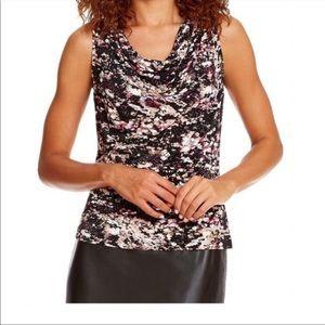 Calvin Klein Ruched Sleeveless Draped Blouse C1717